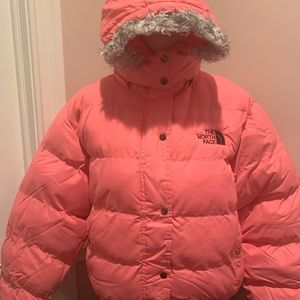 """THE NORTH FACE PINK""PUFFER COAT IN GOOD CONDITION"
